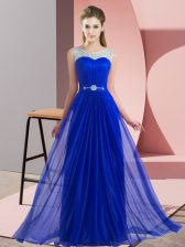 Cute Royal Blue Quinceanera Dama Dress Wedding Party with Beading Scoop Sleeveless Lace Up