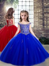 Fantastic Floor Length Lace Up Little Girl Pageant Dress Royal Blue for Party and Wedding Party with Beading and Appliques