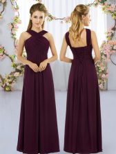 High End Burgundy Straps Lace Up Ruching Court Dresses for Sweet 16 Sleeveless