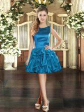 Fashion Blue Scoop Lace Up Ruffles Homecoming Dress Sleeveless