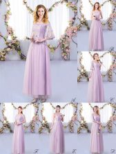 Inexpensive Lavender Tulle Side Zipper Dama Dress for Quinceanera Half Sleeves Floor Length Lace and Belt