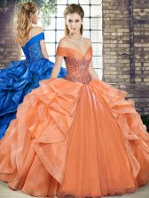 Modest Beading and Ruffles Ball Gown Prom Dress Orange Lace Up Sleeveless Floor Length