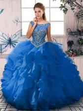 Floor Length Ball Gowns Sleeveless Blue Sweet 16 Dresses Zipper