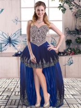 Royal Blue A-line Tulle Sweetheart Sleeveless Beading and Embroidery High Low Lace Up Homecoming Dress