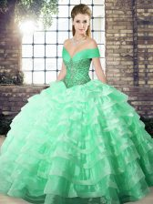 Attractive Apple Green Sweet 16 Dresses Military Ball and Sweet 16 and Quinceanera with Beading and Ruffled Layers Off The Shoulder Sleeveless Brush Train Lace Up