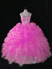 Sexy Floor Length Rose Pink Sweet 16 Quinceanera Dress Organza Sleeveless Beading and Ruffles and Pick Ups