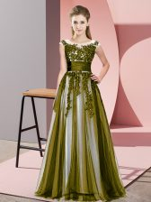 Olive Green Empire Beading and Lace Dama Dress Zipper Tulle Sleeveless Floor Length