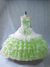 Spectacular Embroidery and Ruffled Layers and Bowknot Vestidos de Quinceanera Lace Up Sleeveless Floor Length