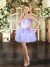 Edgy Lavender Ball Gowns Sweetheart Sleeveless Organza Mini Length Lace Up Beading Dress for Prom