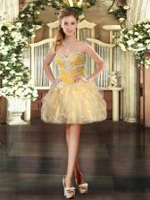 Sleeveless Mini Length Beading and Ruffles Lace Up with Gold