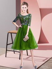 Green Lace Up Scoop Embroidery Quinceanera Dama Dress Tulle Half Sleeves