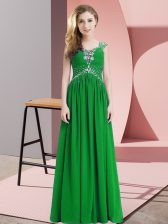 Glorious Green Cap Sleeves Floor Length Beading Prom Evening Gown