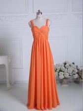 Exquisite Ruching Vestidos de Damas Orange Zipper Sleeveless Floor Length