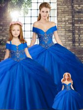 Chic Royal Blue Ball Gowns Beading and Pick Ups Quinceanera Gowns Lace Up Tulle Sleeveless