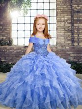 Floor Length Blue Little Girl Pageant Gowns Organza Sleeveless Beading and Ruffles