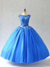Edgy Sleeveless Lace Up Floor Length Beading and Appliques Quinceanera Dress