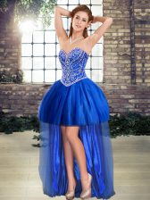 Royal Blue Prom Party Dress Prom and Party with Beading Sweetheart Sleeveless Lace Up