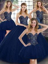 Perfect Navy Blue Tulle Lace Up Sweetheart Sleeveless Floor Length Quinceanera Dresses Beading
