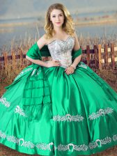 Best Selling Turquoise Ball Gowns Sweetheart Sleeveless Satin Floor Length Lace Up Beading and Embroidery Quinceanera Dress