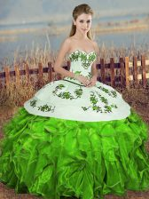 Sleeveless Lace Up Floor Length Embroidery and Ruffles and Bowknot Quinceanera Gown