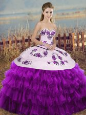 Hot Selling White And Purple Sweetheart Neckline Embroidery and Ruffled Layers and Bowknot 15 Quinceanera Dress Sleeveless Lace Up