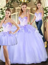 Floor Length Ball Gowns Sleeveless Lavender Quinceanera Dress Lace Up