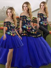 Sleeveless Tulle Floor Length Lace Up Sweet 16 Quinceanera Dress in Royal Blue with Embroidery
