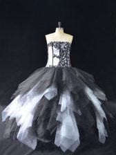 Clearance Floor Length White And Black Quinceanera Gowns Tulle Sleeveless Lace and Ruffles