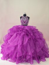 Glorious Purple Two Pieces Halter Top Sleeveless Organza Brush Train Backless Beading and Ruffles Quinceanera Gowns