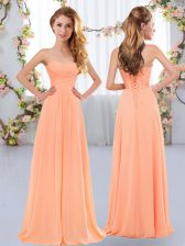 Hot Sale Peach Empire Ruching Dama Dress Lace Up Chiffon Sleeveless Floor Length