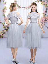 Grey Tulle Zipper Damas Dress Sleeveless Tea Length Lace and Belt