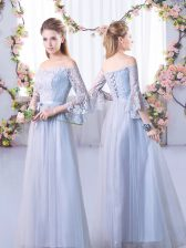 Fashionable 3 4 Length Sleeve Lace Up Floor Length Lace Vestidos de Damas