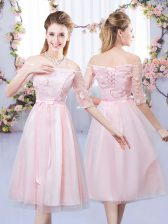 Half Sleeves Tea Length Lace and Belt Lace Up Dama Dress with Baby Pink