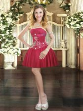 Classical Wine Red Prom and Party with Beading Strapless Sleeveless Lace Up