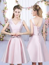 Ideal Baby Pink Sleeveless Mini Length Bowknot Lace Up Court Dresses for Sweet 16