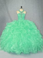 Suitable Floor Length Zipper 15 Quinceanera Dress Apple Green for Sweet 16 and Quinceanera with Beading and Ruffles