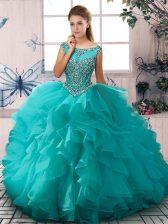 Stunning Aqua Blue Zipper Quinceanera Dress Beading and Ruffles Sleeveless Floor Length