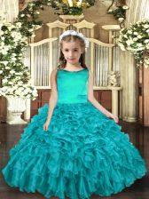Aqua Blue Sleeveless Floor Length Ruffles Lace Up Custom Made Pageant Dress