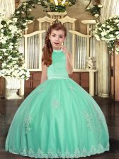 Floor Length Backless Kids Pageant Dress Apple Green for Party and Sweet 16 and Wedding Party with Appliques