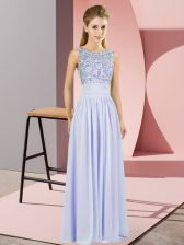Discount Lavender Sleeveless Beading Floor Length Homecoming Dress
