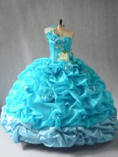 Sexy Aqua Blue Sweet 16 Dresses Sweet 16 and Quinceanera with Pick Ups and Hand Made Flower One Shoulder Sleeveless Lace Up