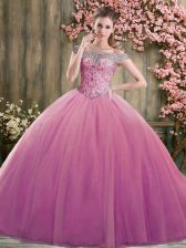 Fashion Ball Gowns 15 Quinceanera Dress Lilac Off The Shoulder Tulle Sleeveless Floor Length Lace Up