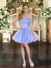 Sleeveless Tulle Mini Length Lace Up Prom Dress in Lavender with Beading