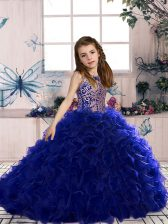 Royal Blue Scoop Lace Up Beading and Ruffles Little Girl Pageant Gowns Sleeveless