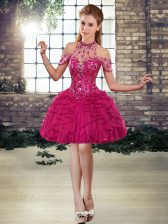 Graceful Tulle Sleeveless Mini Length Homecoming Dress and Beading and Ruffles