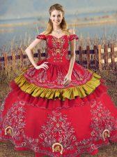 Red Satin and Organza Lace Up Quince Ball Gowns Sleeveless Floor Length Embroidery