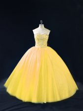 Gold Ball Gowns Beading Quinceanera Dress Lace Up Tulle Sleeveless Floor Length