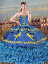 Blue Lace Up Sweetheart Ruffled Layers Quince Ball Gowns Organza Sleeveless Brush Train
