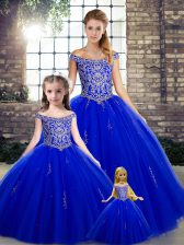 Best Selling Tulle Off The Shoulder Sleeveless Lace Up Beading Sweet 16 Dress in Royal Blue