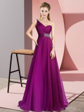 Luxurious Fuchsia Sleeveless Brush Train Beading Evening Dress